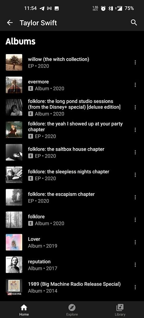 YouTube Music current list layout artist page
