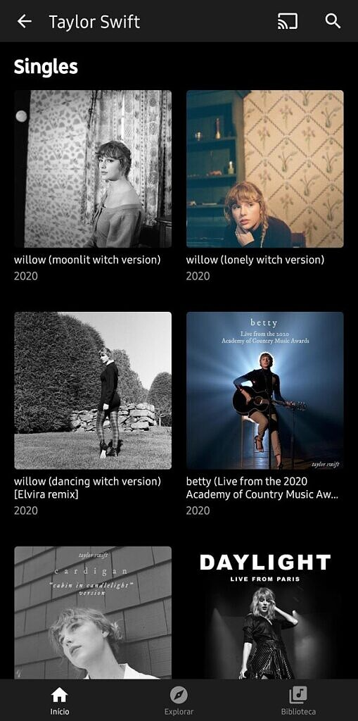 YouTube Music new grid layout artist page