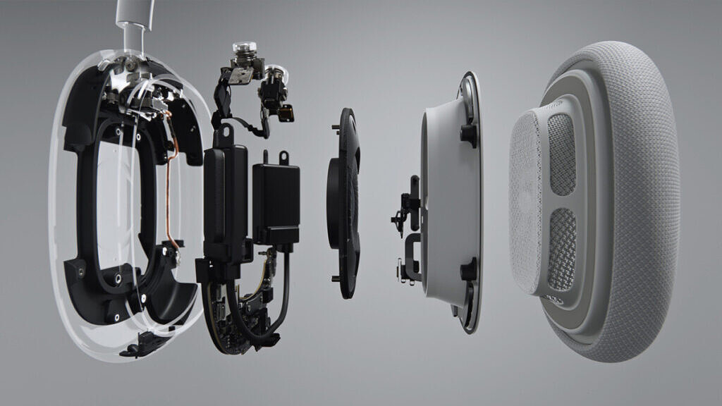 Apple AirPods Max earcup blow out view with internal components