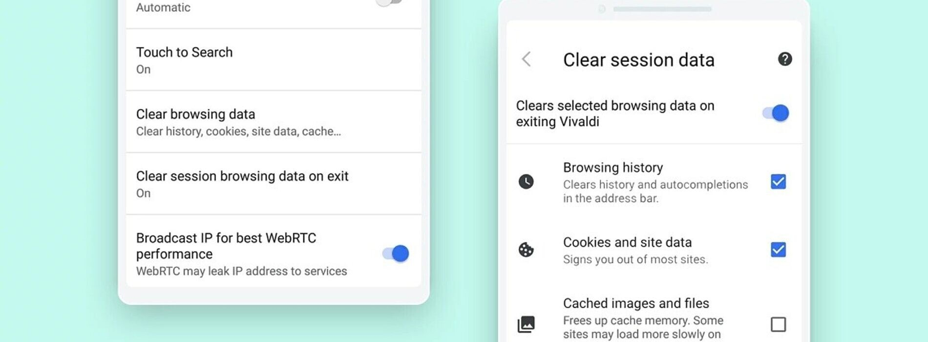 Vivaldi Browser for Android adds an option to clear browsing data on exit