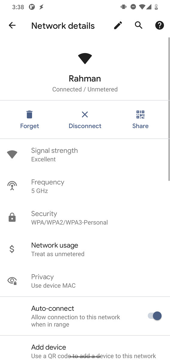 Android 11 network details