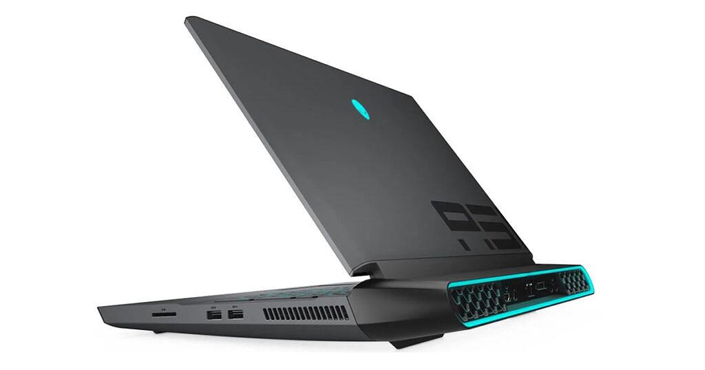 An Alienware Area 51m gaming laptop seen at an angle from the back