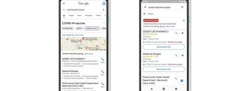 Google Maps and Search will soon show COVID-19 vaccination locations in the US
