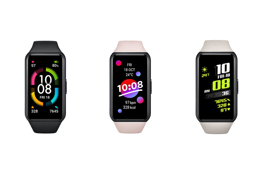 Honor Band 6 color variants on white background