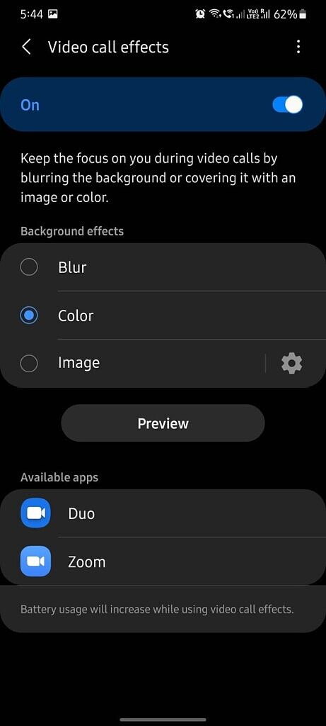 One UI 3.1 video call effects