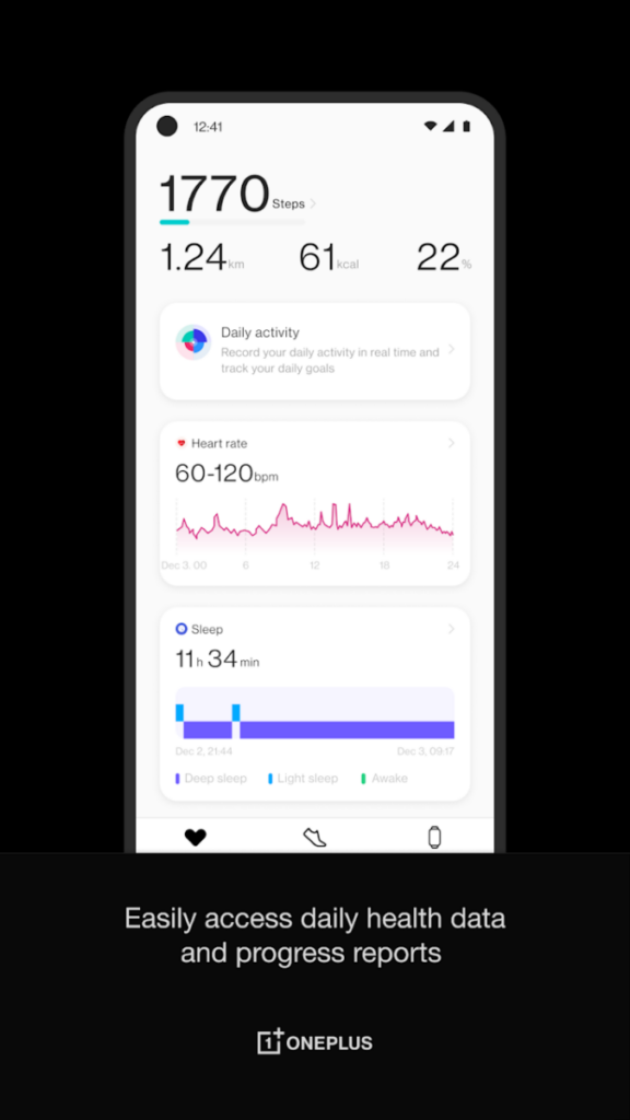 OnePlus Health app showing health information