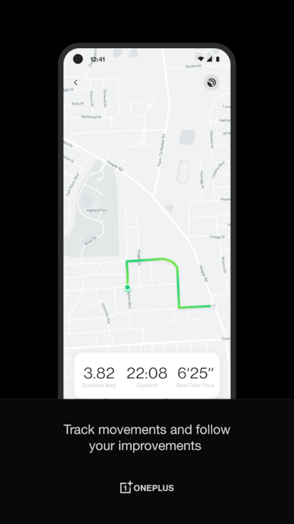 OnePlus Health app showing GPS tracking
