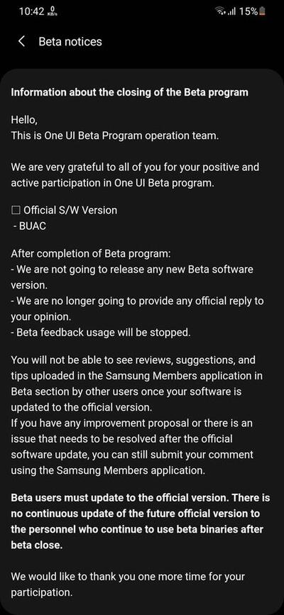 Samsung Galaxy M31 Android 11 One UI 3.0 Beta Ending Notice