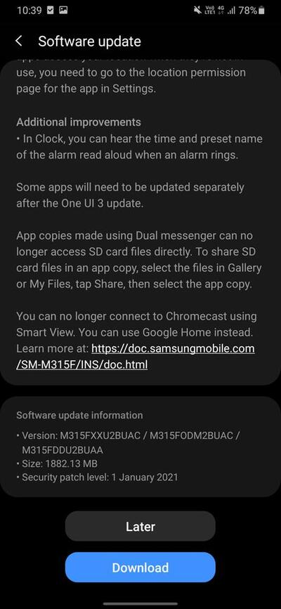 Samsung Galaxy M31 Android 11 One UI 3.0 Stable 2