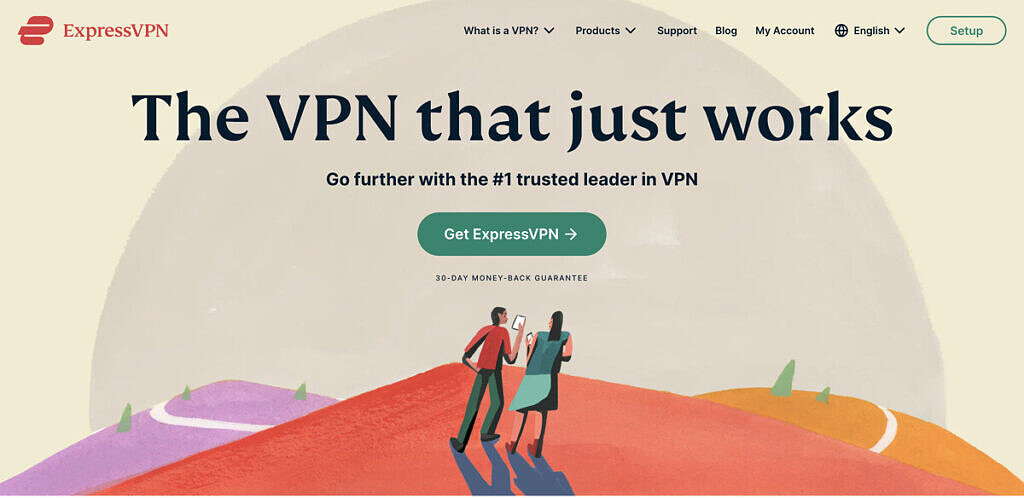 The ExpressVPN homepage.