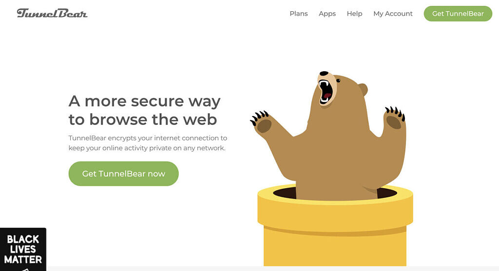 The homepage of TunnelBear.