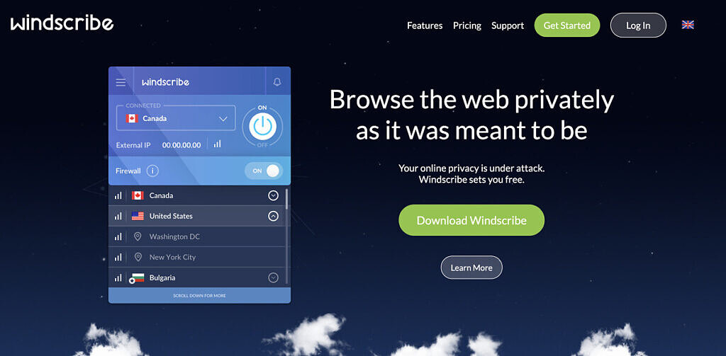The homepage of Windscribe.