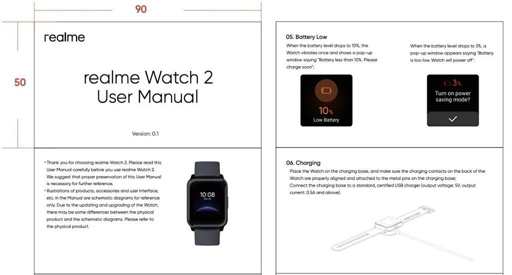 Realme Watch 2 user manual FCC certification listing