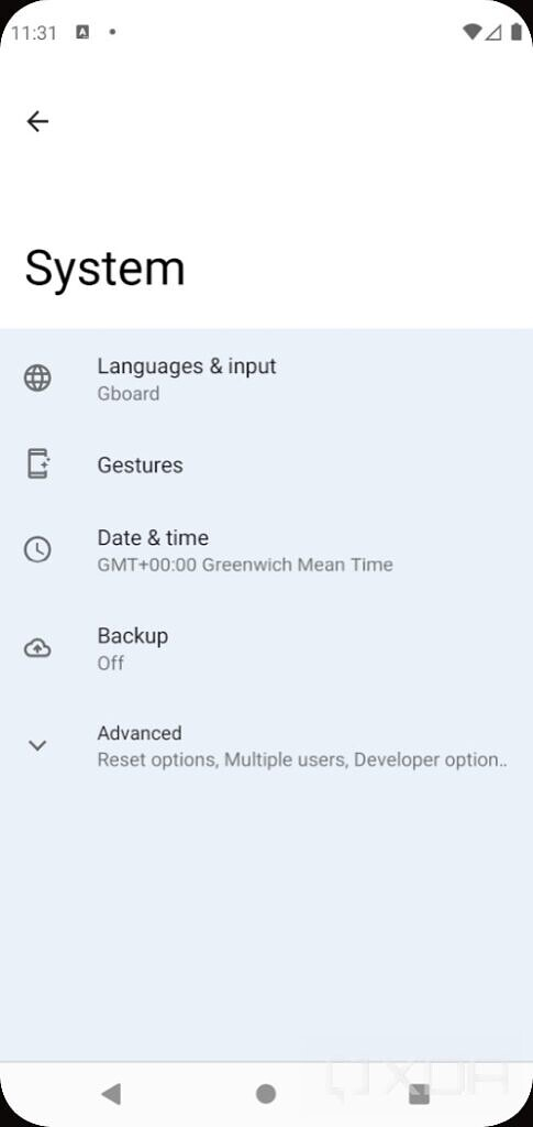 Android 12 settings with silky home feature flag enabled