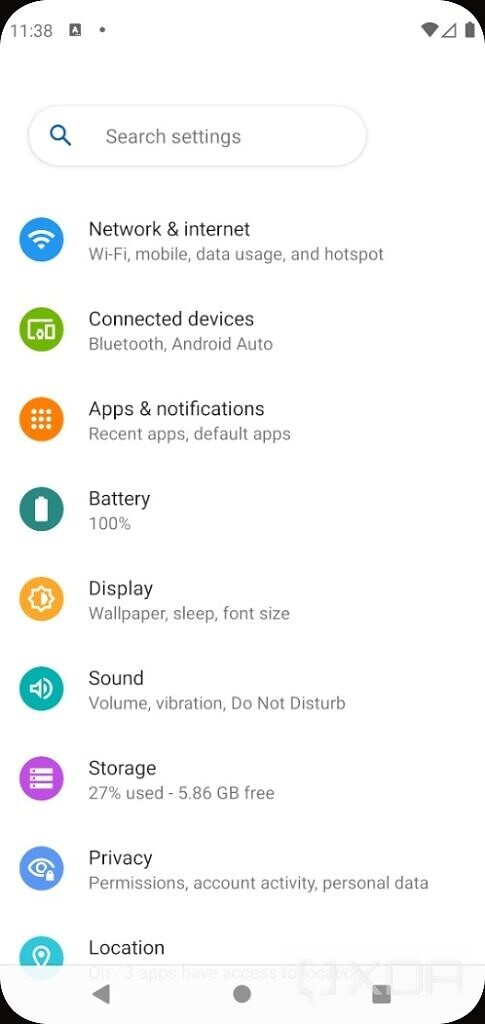 Android 12 settings page