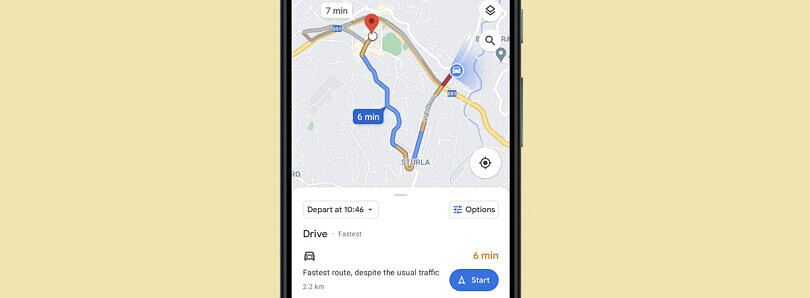 Google Maps is testing a new, cleaner look for the route option screen