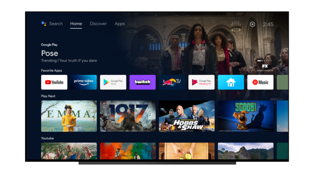 Home tab on Android TV