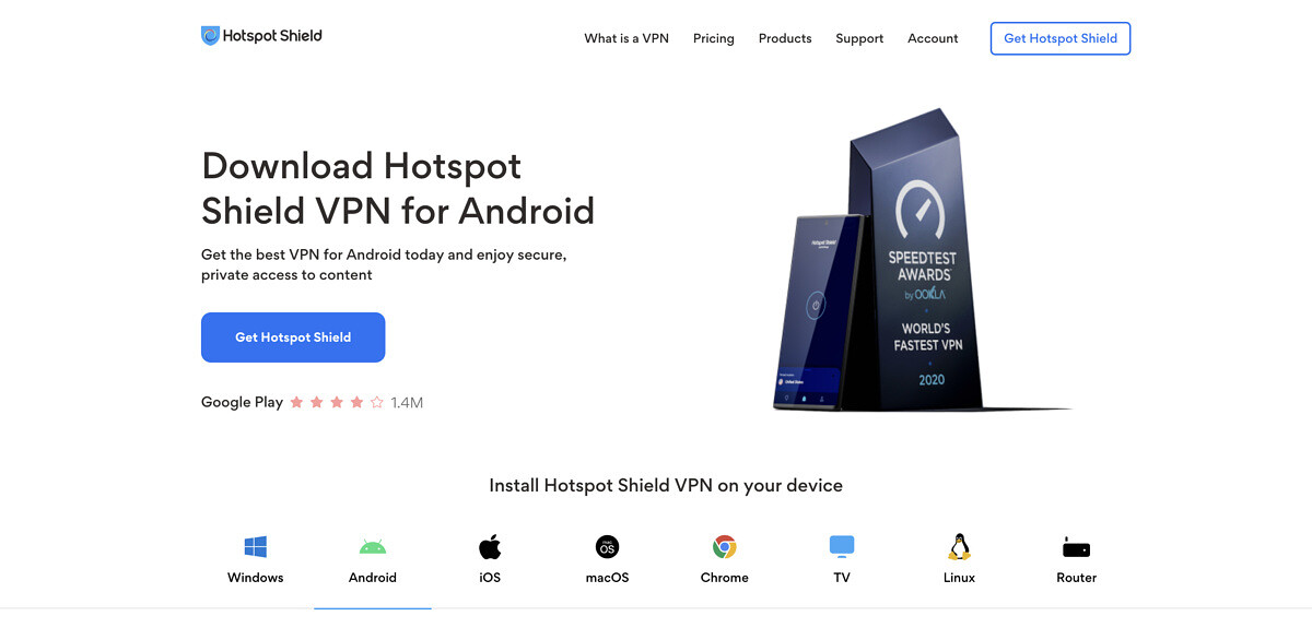 Hotspot Shield for Android.