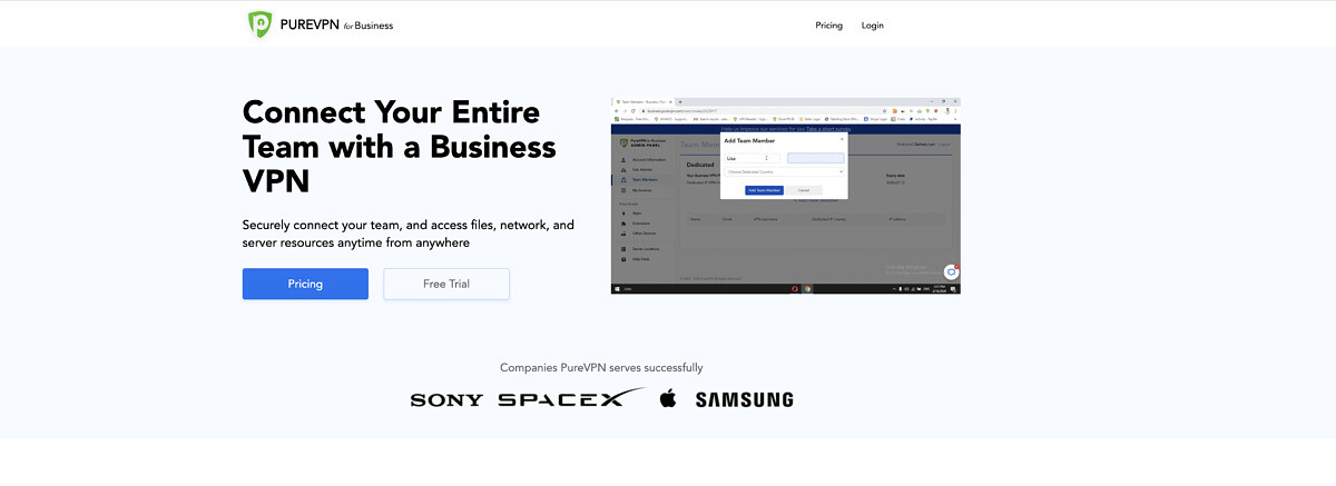 PureVPN for Business homepage