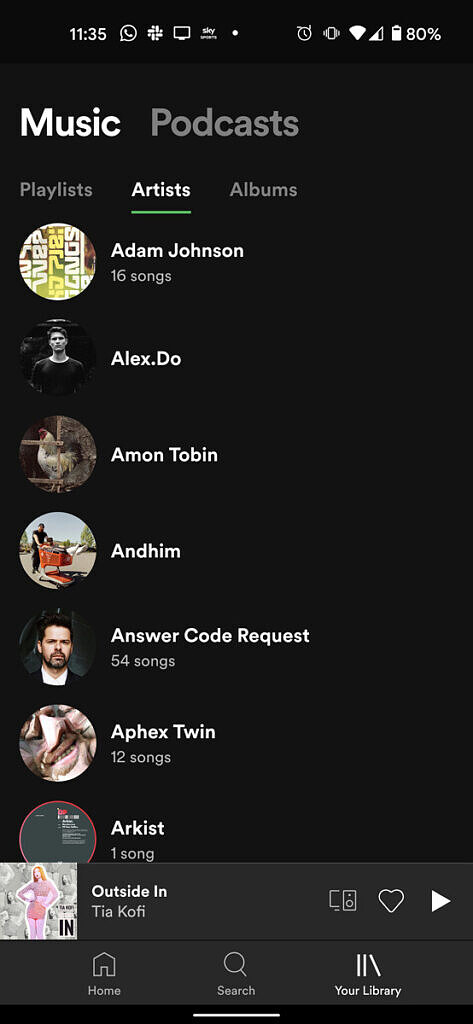 Spotify current library UI