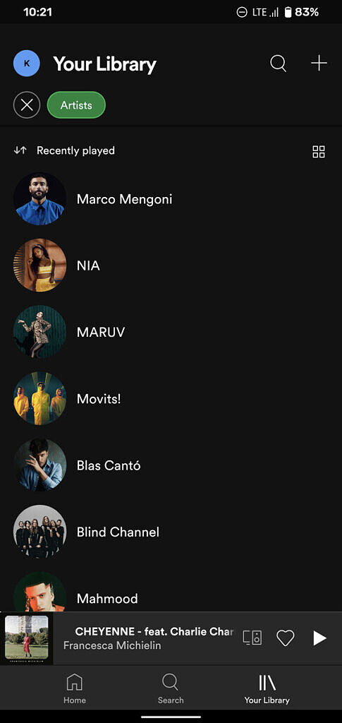 Spotify updated library UI