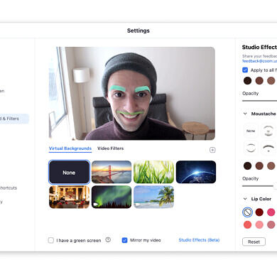 Use Zoom's new Studio Effects to liven up your boring meetings