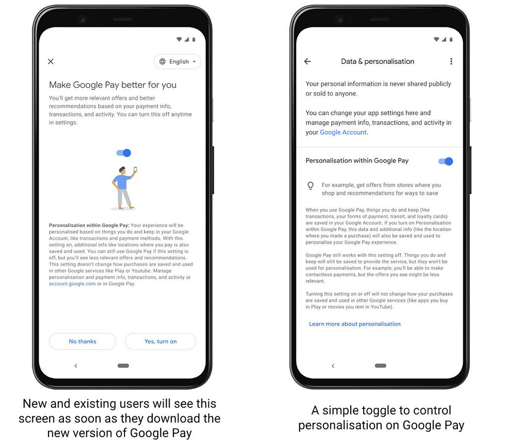 Google Pay turn off data tracking features