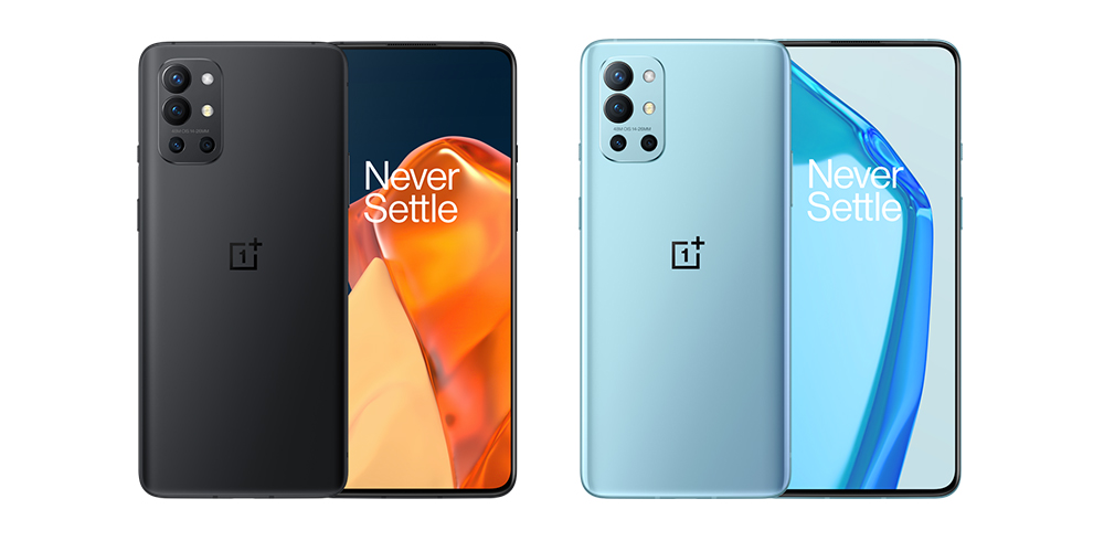 OnePlus 9R in Lake Blue and Carbon Black colorways