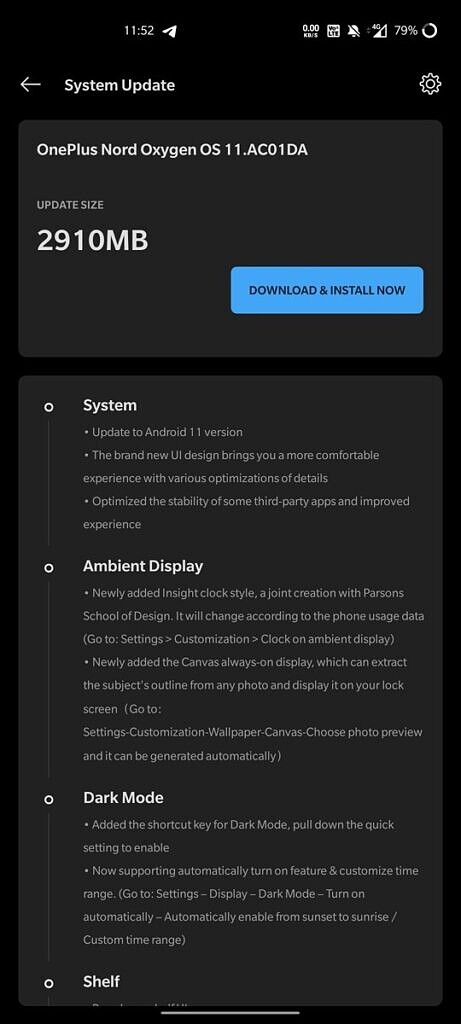 OxygenOS 11 stable OnePlus Nord