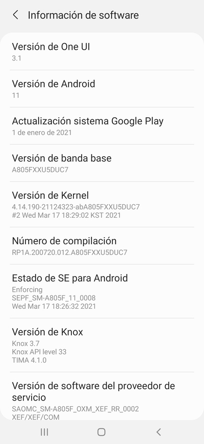 Samsung Galaxy A80 Android 11 One UI 3.1