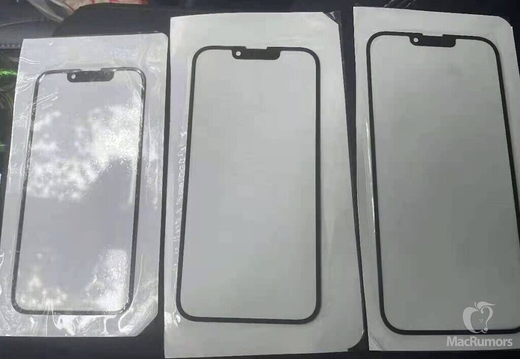 Leaked display glass images for the iPhone 13 devices