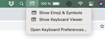 The Keyboard Viewer on the top bar of a mac