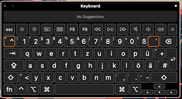 The Keyboard Viewer on the screen of a mac