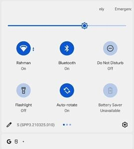 Android 12 DP3 Quick Settings tile labels