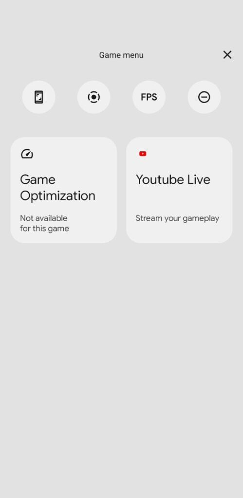 Android 12 DP3 game dashboard