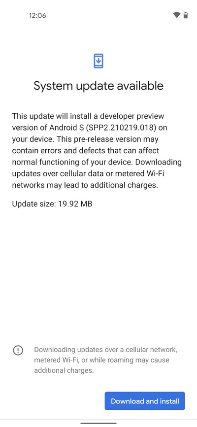 Android 12 Developer Preview 2.2