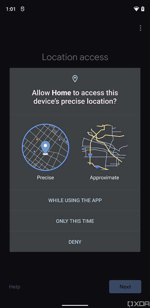 Android 12 better location permission dialog