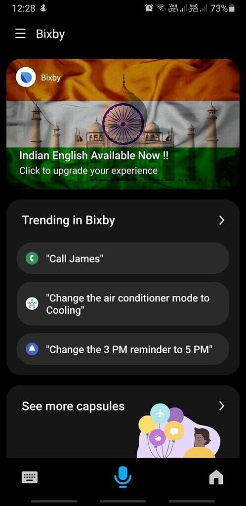 Samsung Bixby Indian English support update