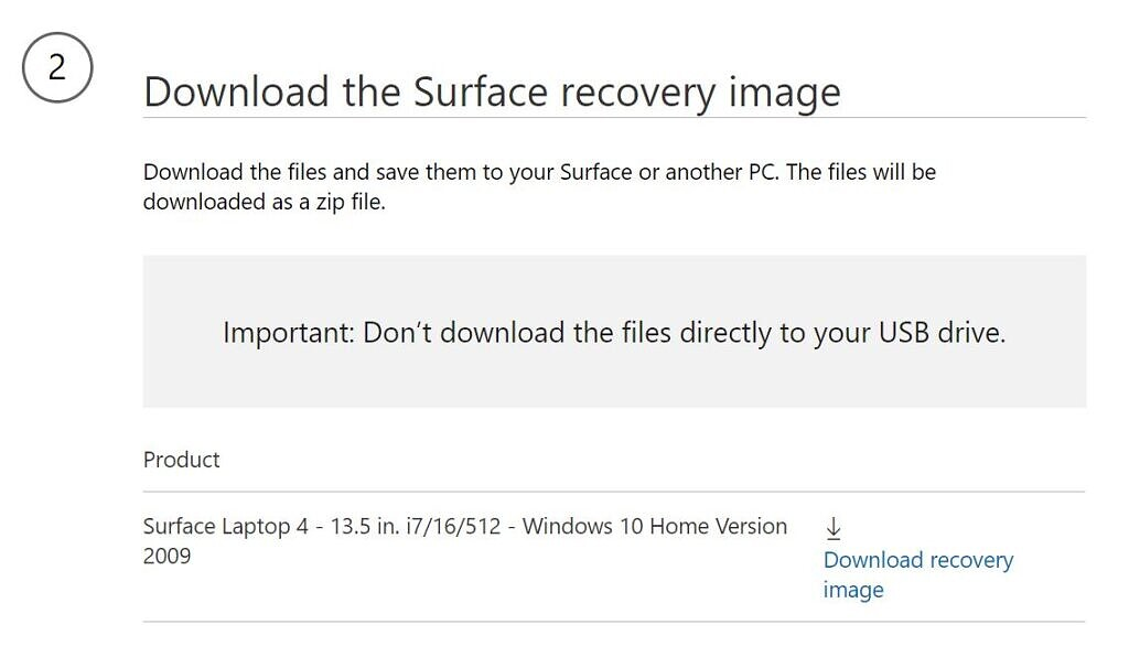 Screenshot to download a Surface recovery image