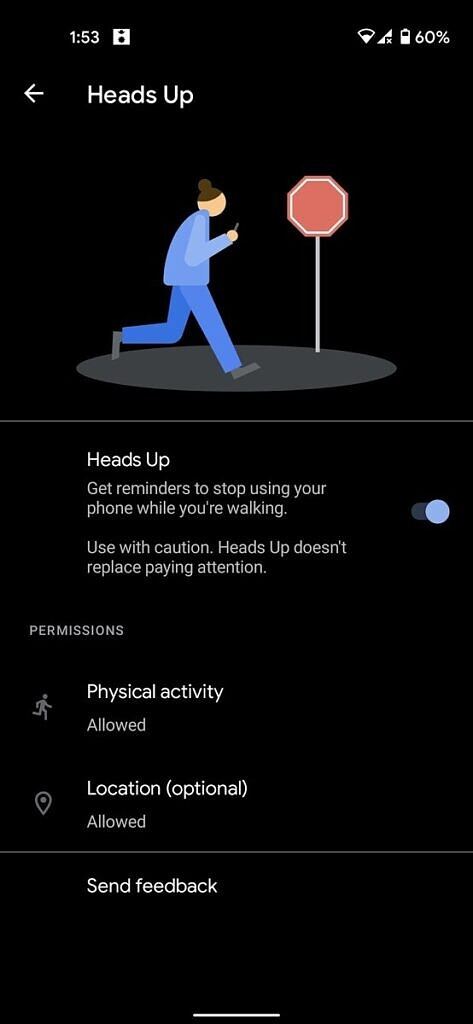 Digital Wellbeing Heads Up settings