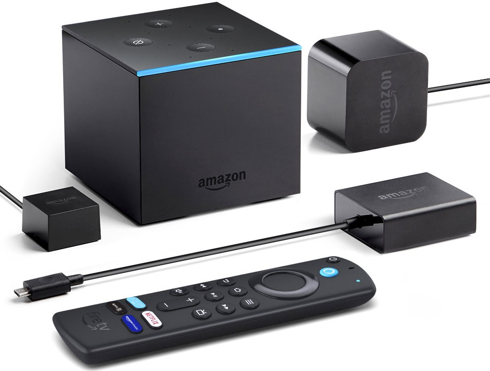 Amazon Fire TV Cube, Alexa voice remote, IR extender cable and power adapter