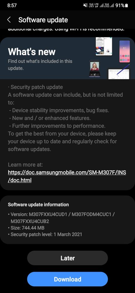 A screenshot taken on Galaxy M31 showing the One UI 3.1 update prompt