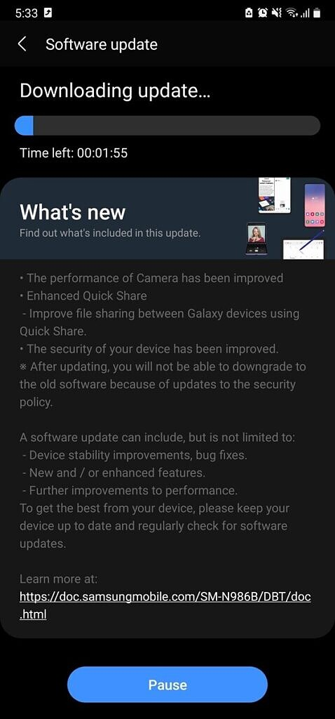 Galaxy Note 20 May 2021 security patches update