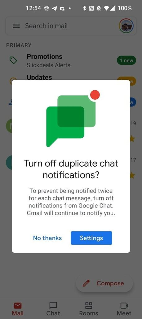 Turn off duplicate chat notifications