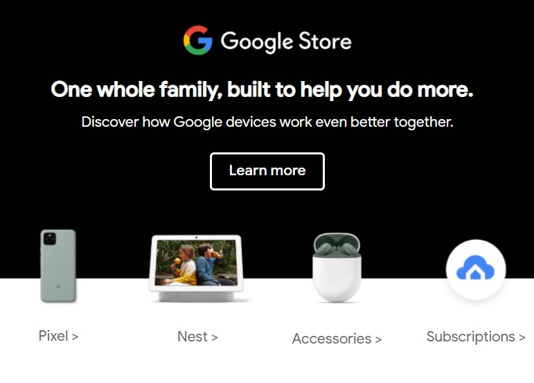 Google Nest email slide showing the Pixel Buds A