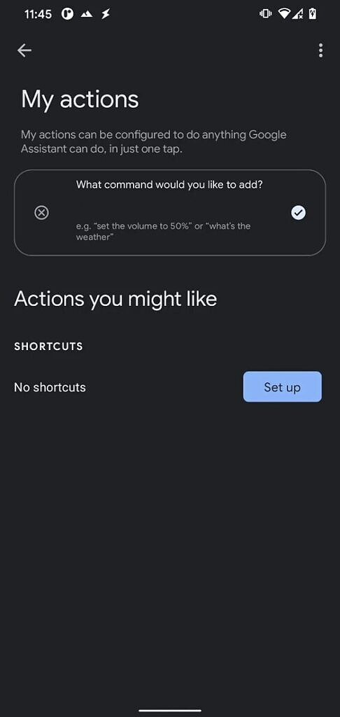 Google Assistant My Actions setup screen