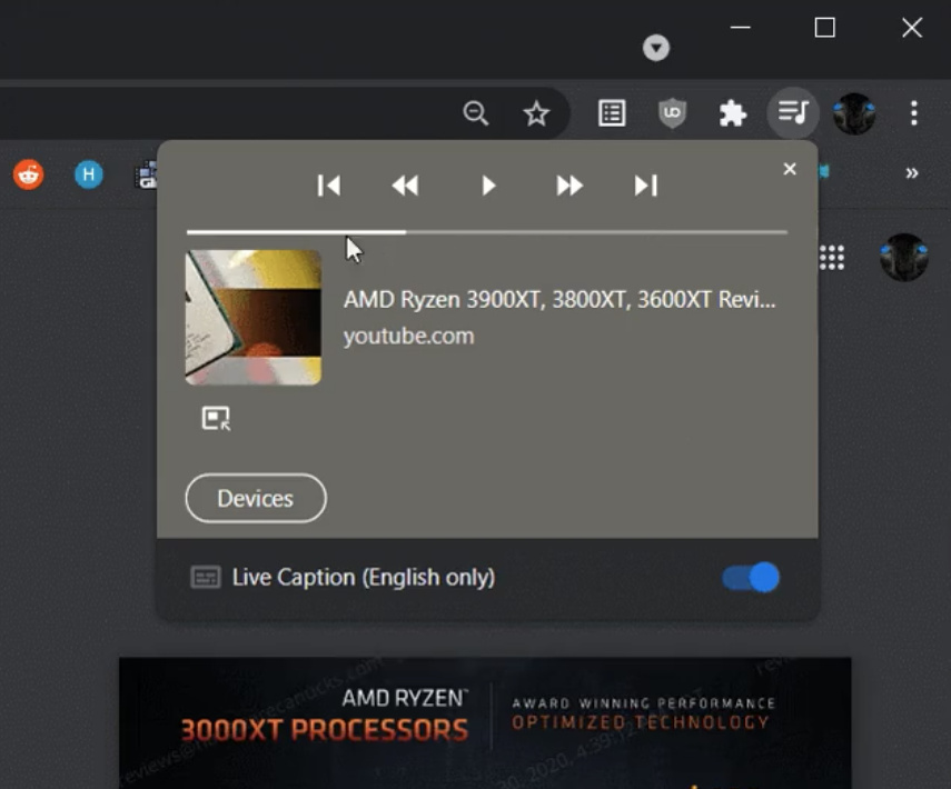 Updated media playback controls in Chrome Canary 91
