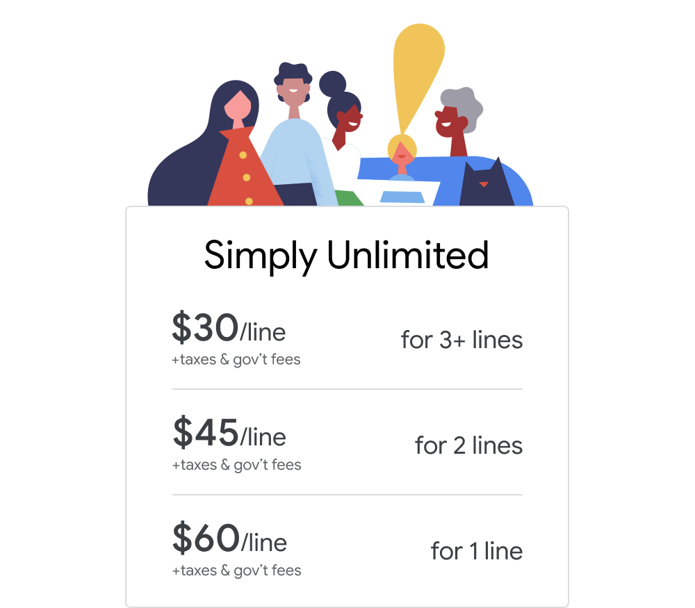 Google Fi Simply Unlimited plan options