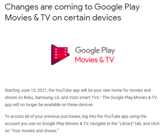 Google email notifying users about Play Movies and TV app being killed on Roku and several smart TVs