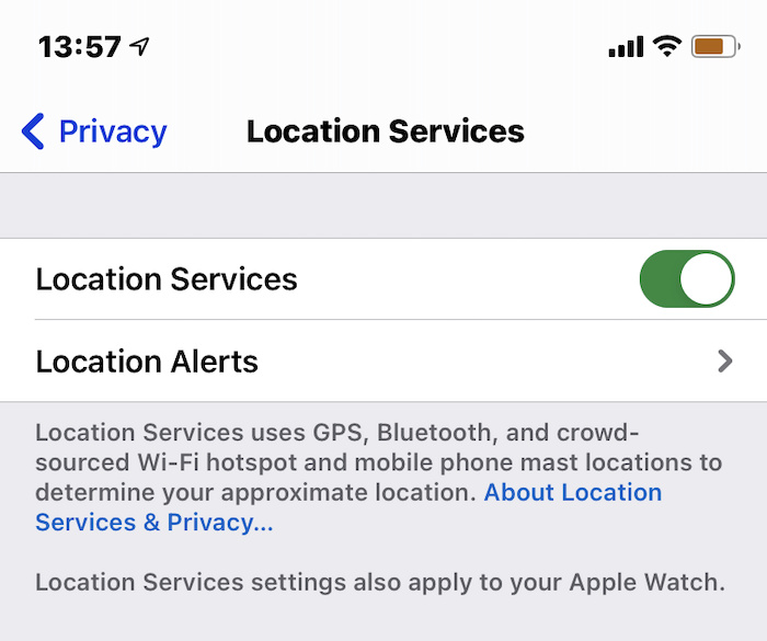 iOS location services settings